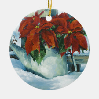 0525 Poinsettia in Watering Can Christmas Ornament