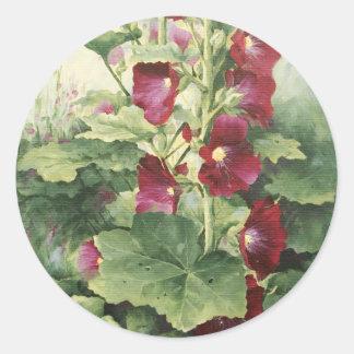 0536 Burgundy Hollyhocks Classic Round Sticker