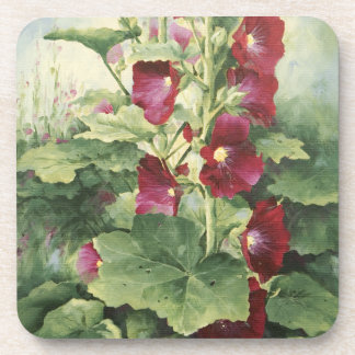 0536 Burgundy Hollyhocks Cork Coaster