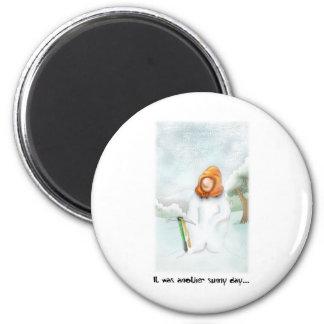 05. Snowman 6 Cm Round Magnet