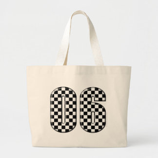 06 checkered auto racing number tote bag