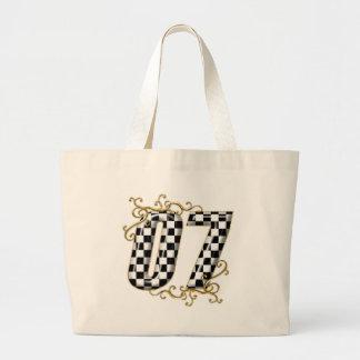 07 auto racing number jumbo tote bag