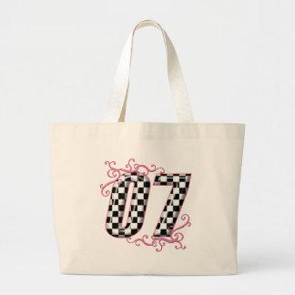 07 auto racing number pink jumbo tote bag