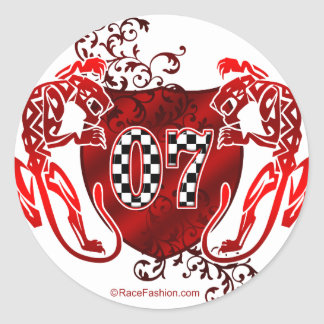 07 auto racing number tigers sticker