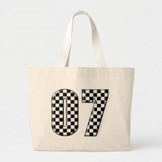 07 checkered auto racing number jumbo tote bag