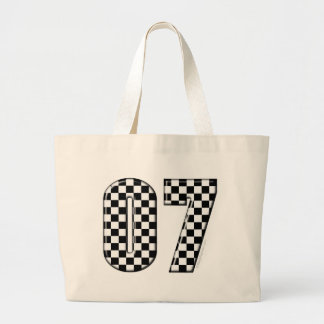 07 checkered auto racing number canvas bags