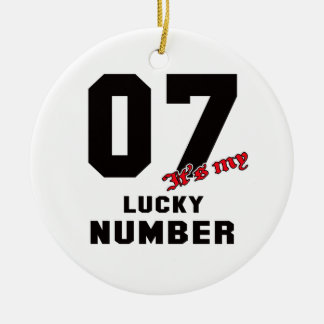 07 It's my lucky number Round Ceramic Decoration