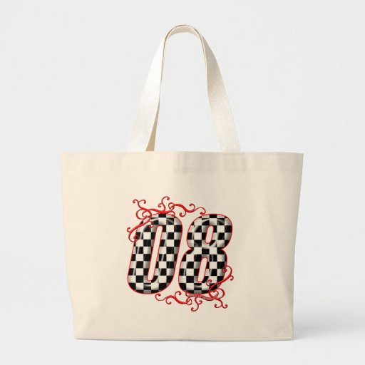 08 auto racing number tote bags