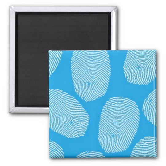 090906-investigation BLUE FINGERPRINTS DETECTIVE Square Magnet
