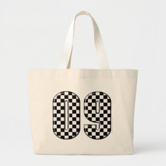 09 checkered auto racing number canvas bag