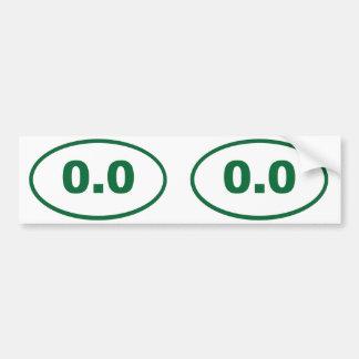 0.0 oval bumper sticker