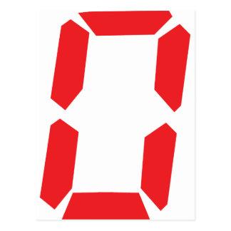 0 red alarm clock number digital zero post card