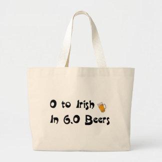 0 to Irish in 6.0 Beers Jumbo Tote Bag