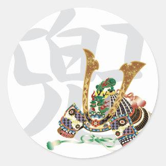 10007.kabuto japanese samurai round sticker