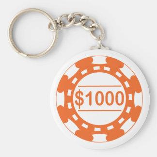 $1000 Casino Chip Orange Keychain
