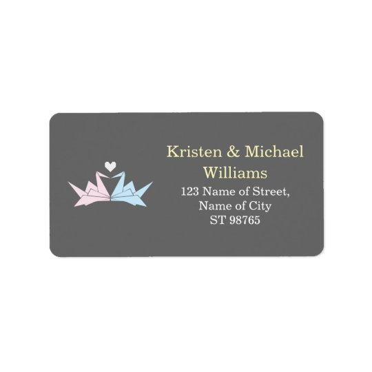 1000 Hanging Origami Paper Cranes Wedding (Grey) Address Label