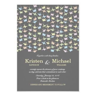 1000 Hanging Origami Paper Cranes Wedding (Grey) Card