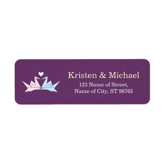 1000 Hanging Origami Paper Cranes Wedding (Purple) Return Address Label