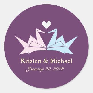 1000 Hanging Origami Paper Cranes Wedding (Purple) Round Sticker
