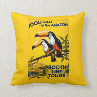 1000 Miles Up the Amazon Booth Line Tours Vintage Cushion