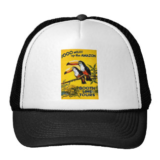1000 Miles Up The Amazon- Vintage Travel Poster Mesh Hats