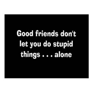 100163 GOOD FRIENDS NOT LET YOU STUPID THINGS ALON POSTCARD