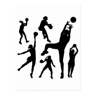 10097-netball-silhouette-vector SPORTS NET BALL PE Postcard