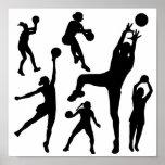 10097-netball-silhouette-vector SPORTS NET BALL PE Poster