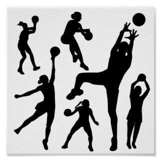 10097-netball-silhouette-vector SPORTS NET BALL PE Poster