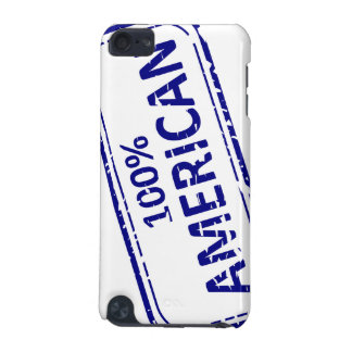 100% AMERICAN Rubber-stamp blue on white iPod Touch (5th Generation) Cases