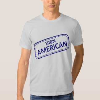 100& American rubber-stamp blue on white T-shirts