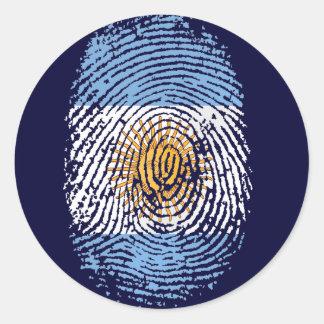100% Argentinian DNA fingerprint Argentina flag gi Round Sticker