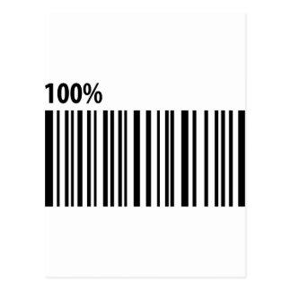 100 % bar code barcode postcard