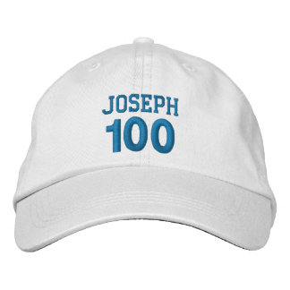 100 Birthday Custom Name BLUE Embroidery V01F Embroidered Hats