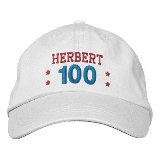 100 Birthday Custom Name RED WHITE BLUE V01F5 Baseball Cap