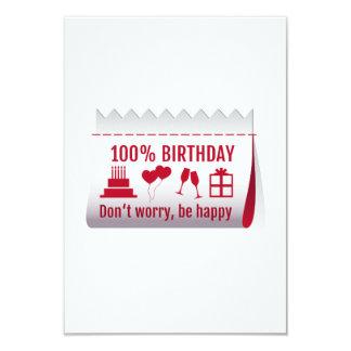100 % birthday, fabric tag, textile label design 9 cm x 13 cm invitation card