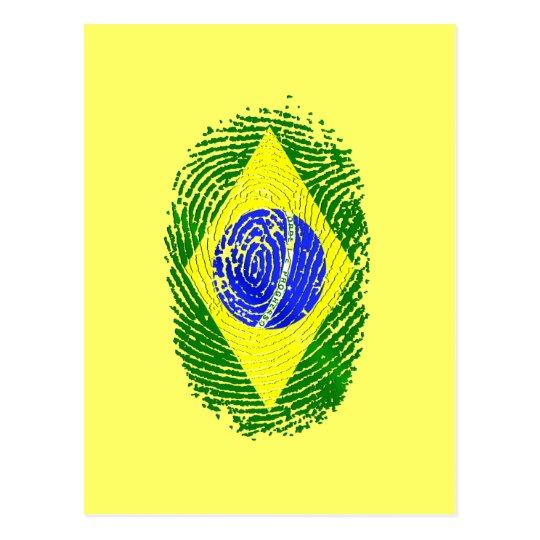 100% Brazilian DNA fingerprint Brasil pride gifts Postcard