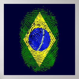 100% Brazilian DNA fingerprint Brasil pride gifts Poster