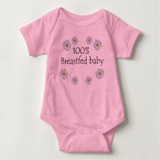 100% Breastfed Baby with Daisies Baby Bodysuit