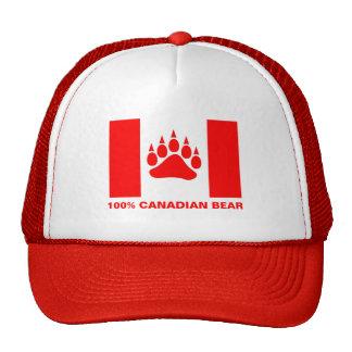 100% Canadian Bear Canadian Flag Red Bear Paw Cap