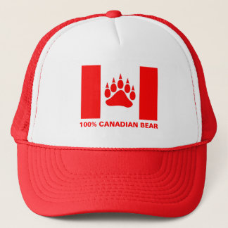 100% Canadian Bear Canadian Flag Red Bear Paw Trucker Hat
