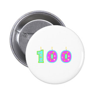 100 (Candles) 6 Cm Round Badge