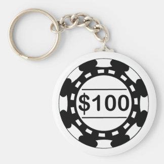$100 Casino Chip Black Keychain