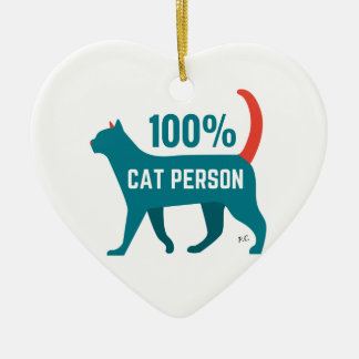 100% Cat Person Decoration Ceramic Heart Decoration