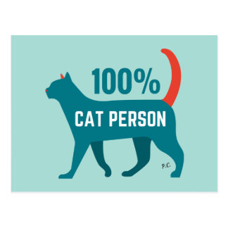 100% Cat Person Postcard