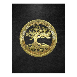 [100] Celtic Tree of Life [Gold] Postcards
