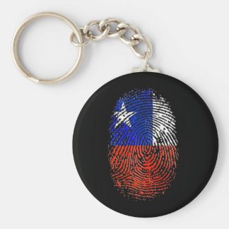 100% Chilean DNA fingerprint flag of Chile Basic Round Button Key Ring