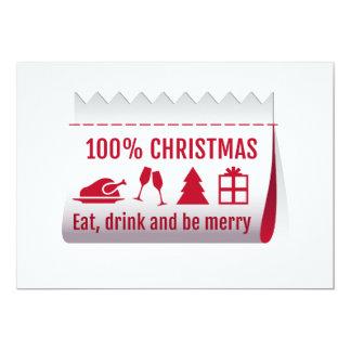 100 % Christmas tag, invitation card
