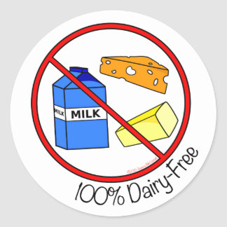 """100% Dairy Free"" Stickers (Small)"