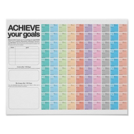 100 Day Planning Calendar D-Day Poster